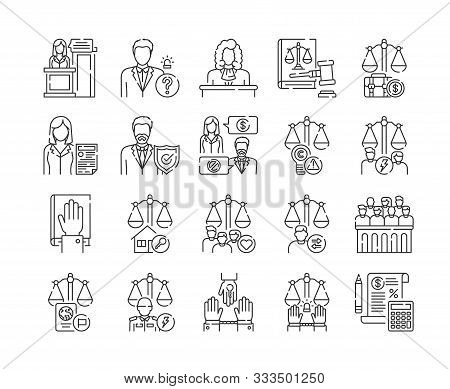 Law And Justice Line Black Icons Set. Type Of Court. Judiciary Concept. Court Staff.