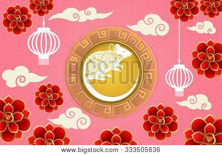 Chinese New Year 2020 Vector Design.chinese Calligraphy Translation Rat Year And