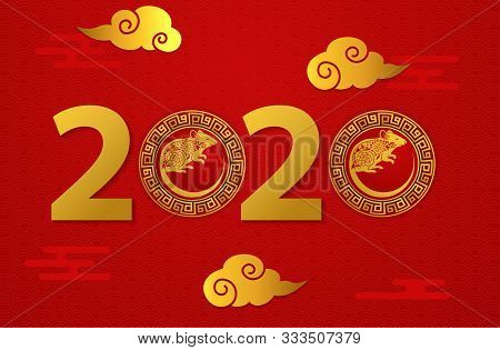 2020 Text Isolated On Red Background, New Year 2020, Text Chinese New Year 2020, 2020 Text For Calen