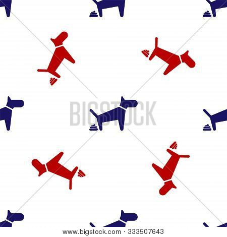 Blue And Red Dog Pooping Icon Isolated Seamless Pattern On White Background. Dog Goes To The Toilet.