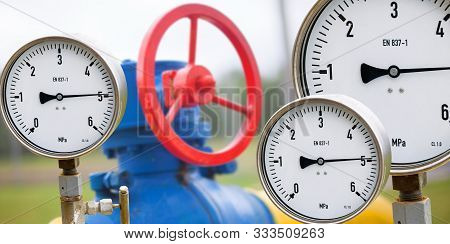 Gas Manometer On Background Valves Manual In The Production Process. Production Process Used Manual