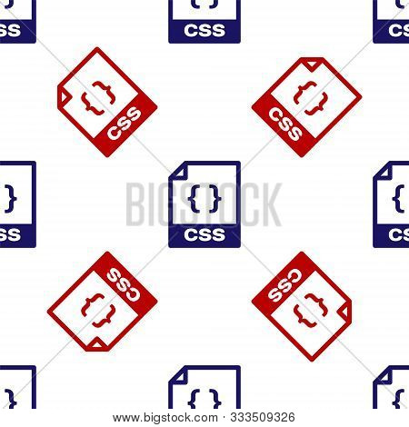 Blue And Red Css File Document. Download Css Button Icon Isolated Seamless Pattern On White Backgrou