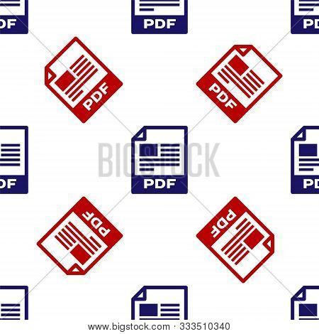 Blue And Red Pdf File Document. Download Pdf Button Icon Isolated Seamless Pattern On White Backgrou