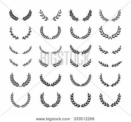 Set Of Different Black And White Silhouette Round Laurel Foliate, Oak And Olive Wreaths Depicting An