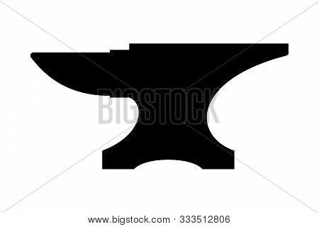 Icon Anvil For Blacksmith. Symbol Blacksmith Logo. Sign Silhouette Anvil. Heavy Industry. Vector Ill