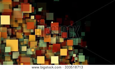 Abstract Web Background With Multicolored Transparent Squares And Particles. 3d Computer Rendering