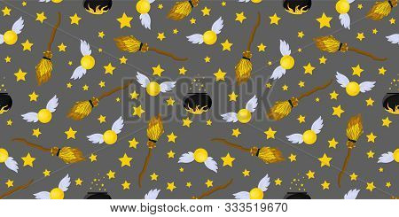 Seamless Pattern Magic And Sorcery. Magic Snitch And Flying Broom. Hogwarts School..