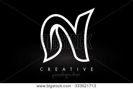 Letter N Monogram Leaf Logo Icon Design With Black And White Colors Vector Illustration.
