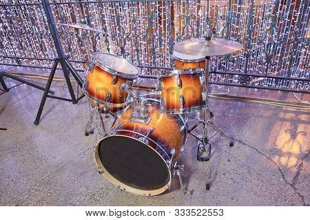Drum-kit, Drum-set, Percussion Instrument, Drumkit . Drum Set In Sound Recording Studio. Drum Kit In