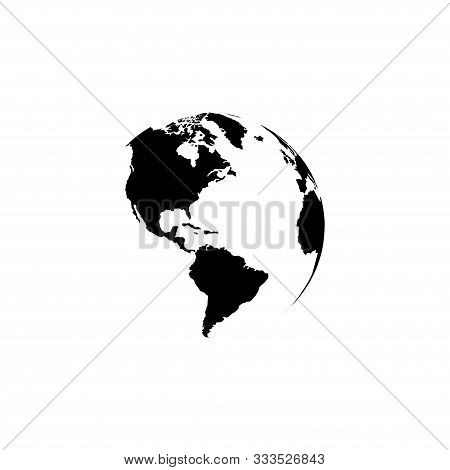 Earth Globe Planet, Isolated On White Background. Earth Globe Map Black Color In Modern Simple Flat
