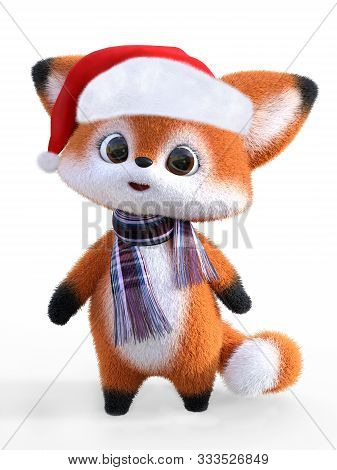 3d Rendering Of An Adorable Cute Happy Furry Cartoon Fox Wearing A Santa Hat And A Scarf. White Back