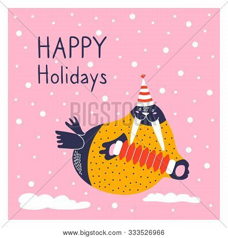 Greeting Card With Icon Of Cute Walrus. Character Hand Drawn Style On Happy New Year Poster. Funny A