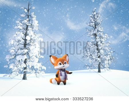 3d Rendering Of An Adorable Cute Happy Furry Cartoon Fox Standing With Snow In Its Hand And Looking