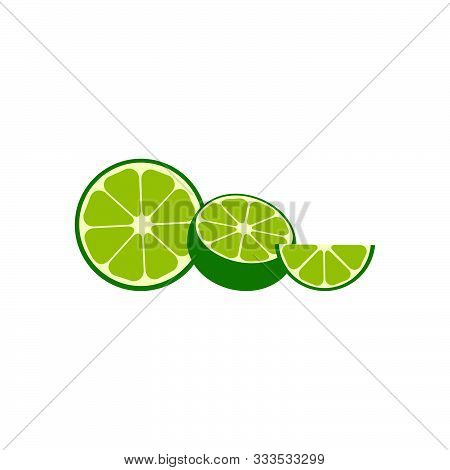Collection Lime Slices In A Row. Lime Fruit In Modern Simple Flat Design. Lime Fruit Flat Icons, Iso