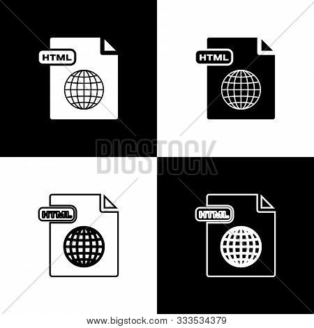 Set Html File Document. Download Html Button Icon Isolated On Black And White Background. Html File