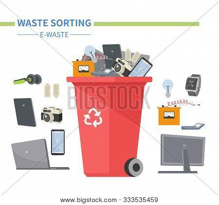 E-waste Sorting - Modern Flat Design Style Illustration