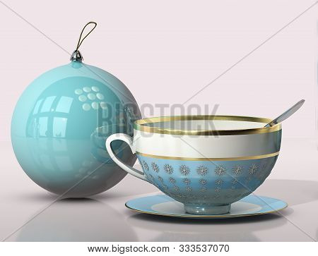 3d Illustration Of Christmas Tree Round Toy Tea Porcellain Cup And Spoon Close Up