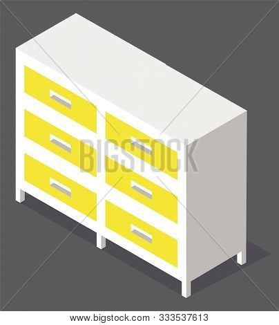Yellow Chest Of Drawers Isolated On Grey Background Isometric Image. Wooden Or Plastic Commode, Furn