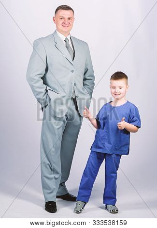 Dad Boss. Father And Cute Small Son. Child Care Development Upbringing. Respectable Profession. Man