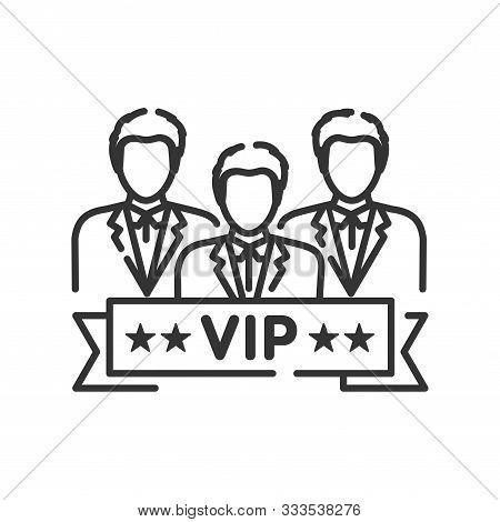 Vip Club Line Black Icon. Exclusive Membership. Sign For Web Page, Mobile App, Button, Logo. Vector
