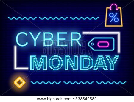 Cyber Monday Discounts Vector. Neon Sign With Frame And Icons. Bag With Percent Symbolizing Reductio