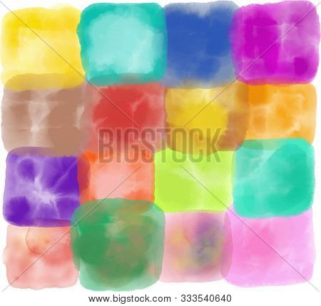 Pretty Watercolour Ink Background Art Made Up Of Patchwork Squares.