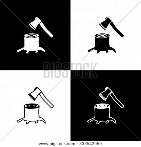 Set Wooden Axe In Stump Icon Isolated On Black And White Background. Lumberjack Axe. Axe Stuck In Wo