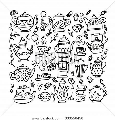 Hand Drawn Teapot And Cup Collection. Doodle Tea Cups, Coffee Cups And Teapots Isolated On White Bac