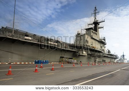 Sattahip, Chonburi, Thailand , September 9, 2019: Aircraft Carrier