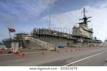 Sattahip, Chonburi, Thailand, September 9, 2019: The Aircraft Carrier