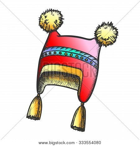 Winter Hat With Fluffy Woolen Pompons Retro Vector. Comfortable Hat Warm Wearing Accessory For Girl.