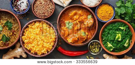 Border Variety Of Indian Dishes. Traditional Indian Food Set. Top View, Flat Lay
