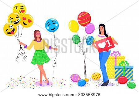 Woman At Photozones Vector, Girl Holding Balloons In Form Of Emoji. Smiling And Kissing Emoticon, La