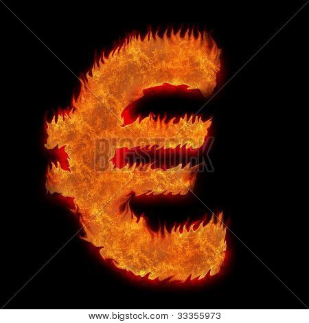 Burning European Currency Euro Sign On Black