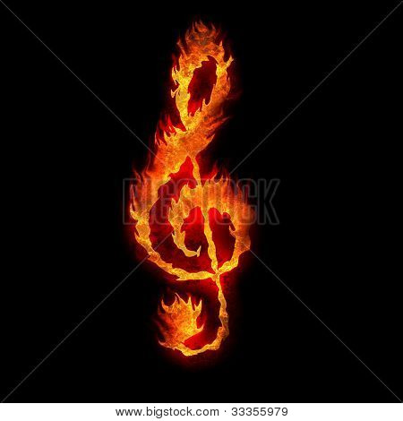 Burning G Clef Sign Fire On Black