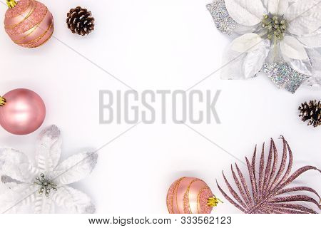 Christmas Feminine Flat Lay With Text Space And Fir Tree Decor. New Year Composition On White Backgr