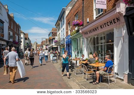 Canterbury, Uk, - July, 11, 2019: The High Street In The Historic City Centre, Canterbury, Kent.