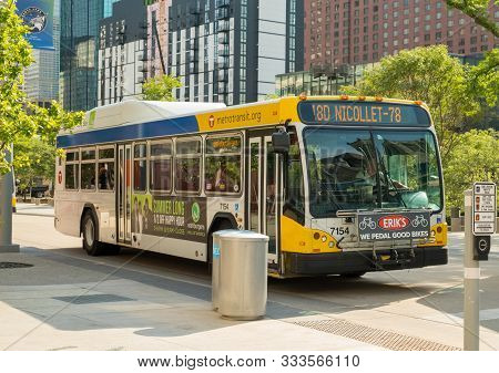 Minneapolis, Usa, - August, 9, 2019: A Local Bus In Downtown Minneapolis, Usa.