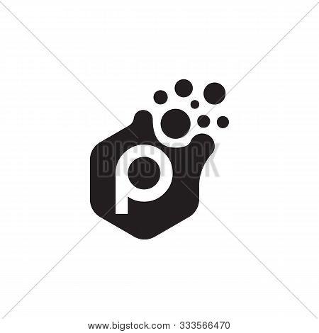 Dots Letter P Logo Vector. P Letter Logo Design With Black. P Logo Vector, Icon Design, Digital Icon
