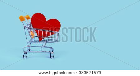 Shopping Cart With Heart On Blue Background. Metal Trolley, Pushcart With Abstract Like Sign On Turq