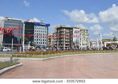 Istanbul, Turkey - September 8th 2019. Tourists And Locals Walk Around Taksim Square In Beyoglu Duri