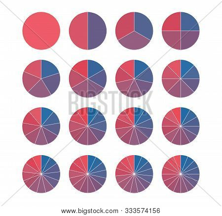 Set Of Brightly Colored Pie Charts. Circle Segments Set. Fraction Mathematics. Infographics Circuit