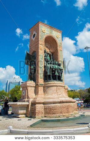 Istanbul, Turkey - September 8th 2019. The Republic Monument In Taksim Square In Beyoglu. Built In 1