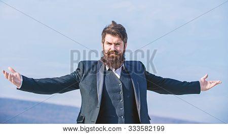 Hipster Bearded Attractive Enjoy Freedom. Guy Enjoy Top Achievement. Man Bearded Proud Himself Sky B