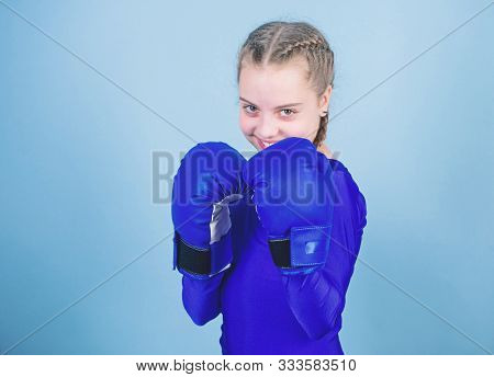 Rise Of Women Boxers. Female Boxer Change Attitudes Within Sport. Feminism Concept. With Great Power
