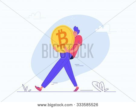Young Man Carrying Heavy Golden Symbol Of Bitcoin. Flat Modern Concept Vector Illustration Of Burden
