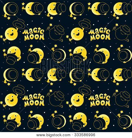 Moon Phases, Kawaii Moon And Magic Show With Magic Hat. Cute Comic With A Waning Moon And A Waning M