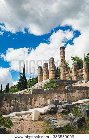 Column Of The Temple Of Apollo In Delphi, Central Greece