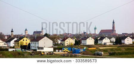 Straubing In Bavaria Germany Panoramic Cityview At Blue Sky