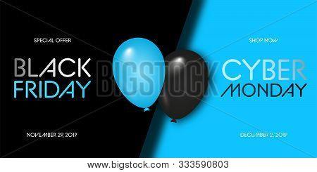 Black Friday Sale. Black Friday Super Sale. Black Background. Balloons. Super Sale. Vector Illustrat